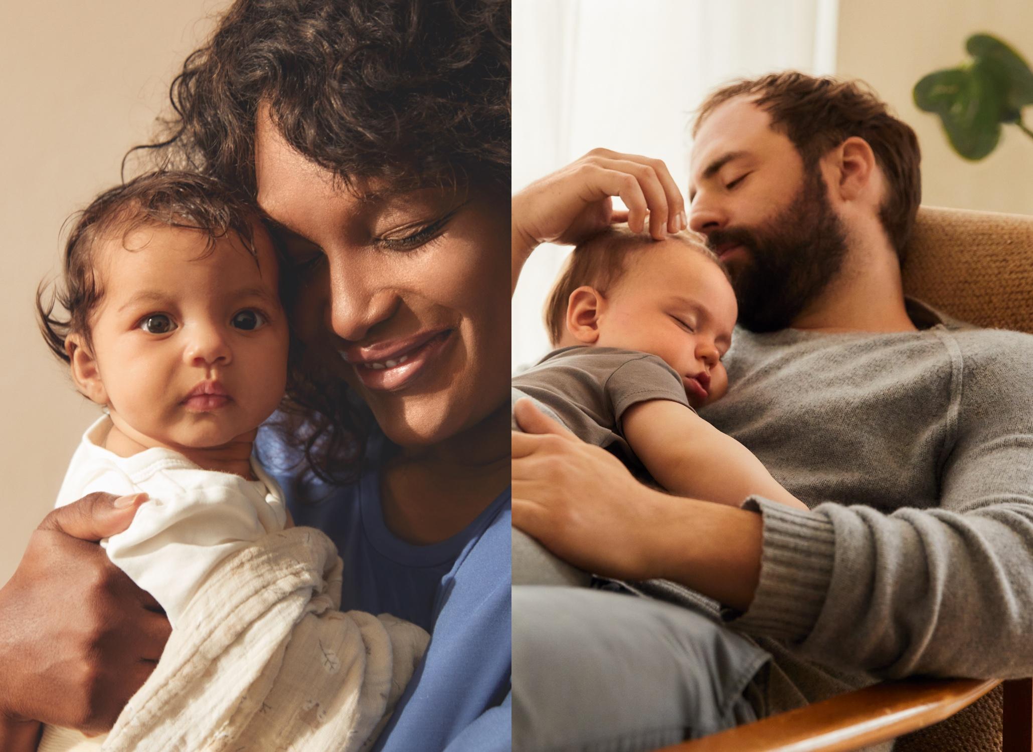 Un bébé souriant aux yeux brillants - Une femme enceinte heureuse habillée avec la collection maternité sent des fleurs | Guide bébé