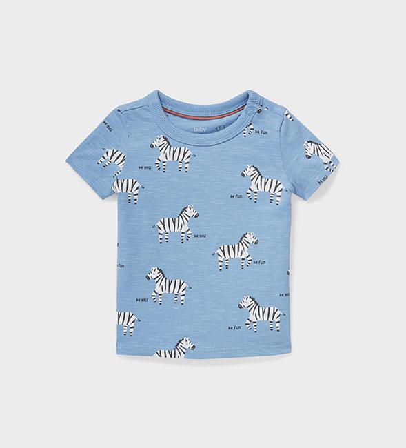 T-shirt bleu pour bébé avec adorables zèbres imprimés