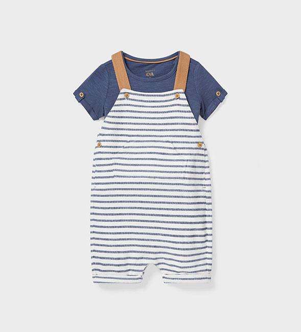 Vêtements pour bébé  : T-shirt bleu et salopette à rayures