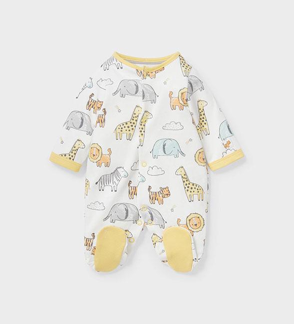 Pyjama blanc pour bébé avec adorables animaux imprimés